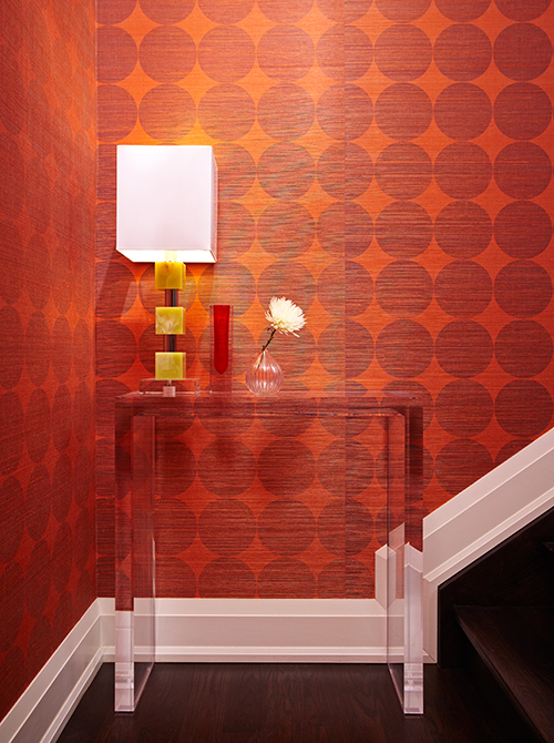 Raw Linen Red and Orange Wallpaper (Casey Design/Planning Group Inc. - Photo by Michael Graydon)