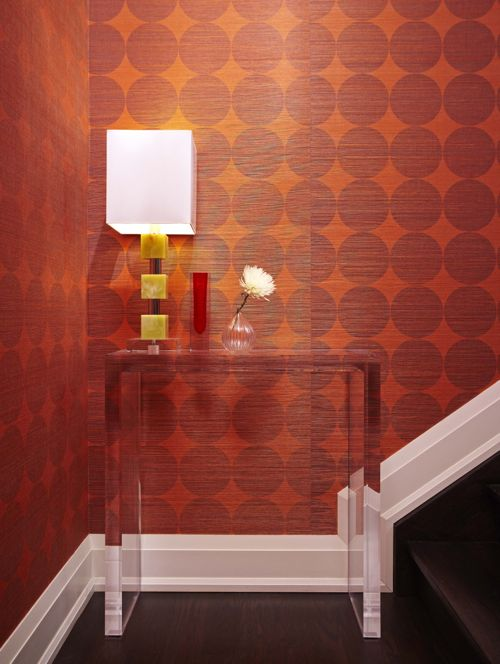 Red and Orange Textured, Linen Wallpaper (Casey Design/Planning Group Inc. - Photo by Ted Yarwood)