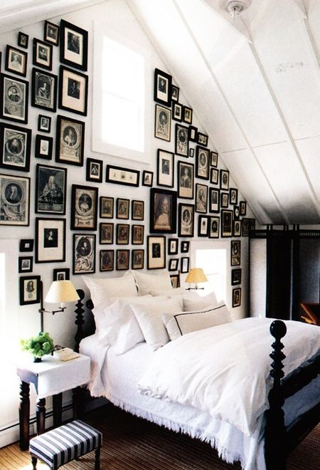 Wall Of Frames in Slanted-Ceiling Bedroom is divine and just as strong as one large painting. ( House & Home )