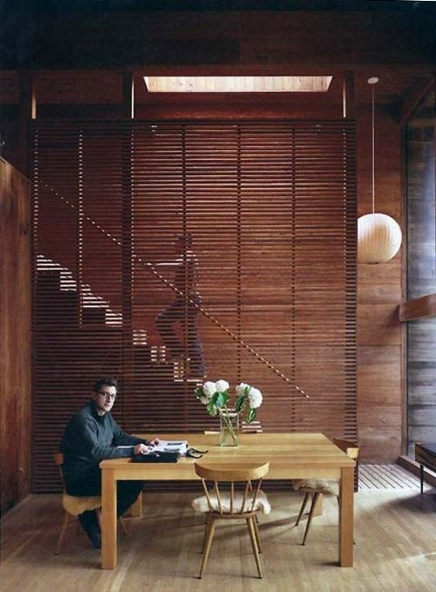 Contemporary space that I would love to work or live in with textured wooden screen very effectively adds richness, separation and filtering of light. ( Flashdecor )