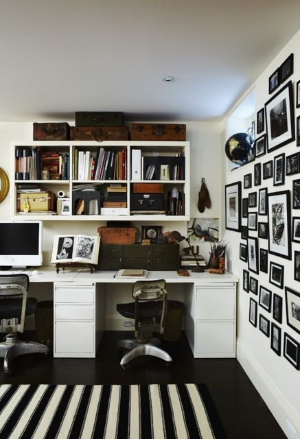 Love the black and white themed office with the punch of black and white stripe! (Casey Design/Planning Group Inc. - Photo by Angus Fergusson).