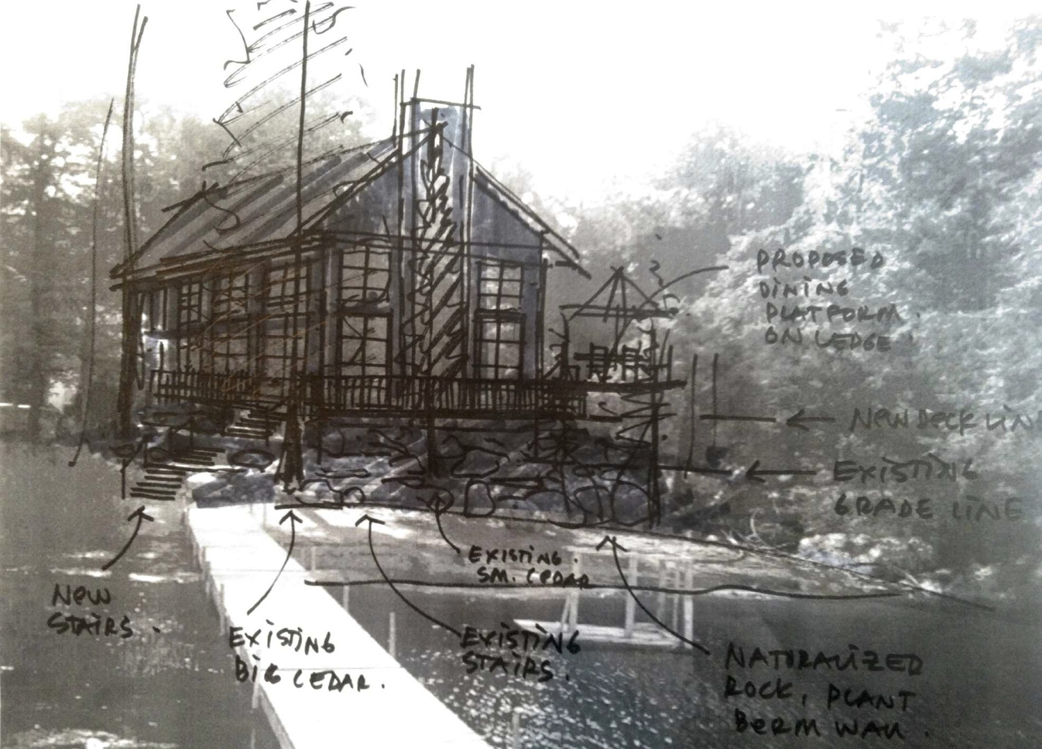 External site studies often guide the overall direction and aesthetic of the cottage space to be designed. This process sketch analyzed the relationship between the structure and the surrounding environment to ensure the best combination of site position, orientation and integration into the landscape. (Casey Design / Planning Group Inc.)