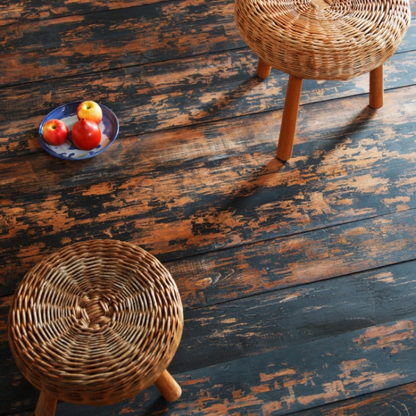 How great would these painted timber planks look as the floor of a family farmhouse? ( www.timelinewood.com )