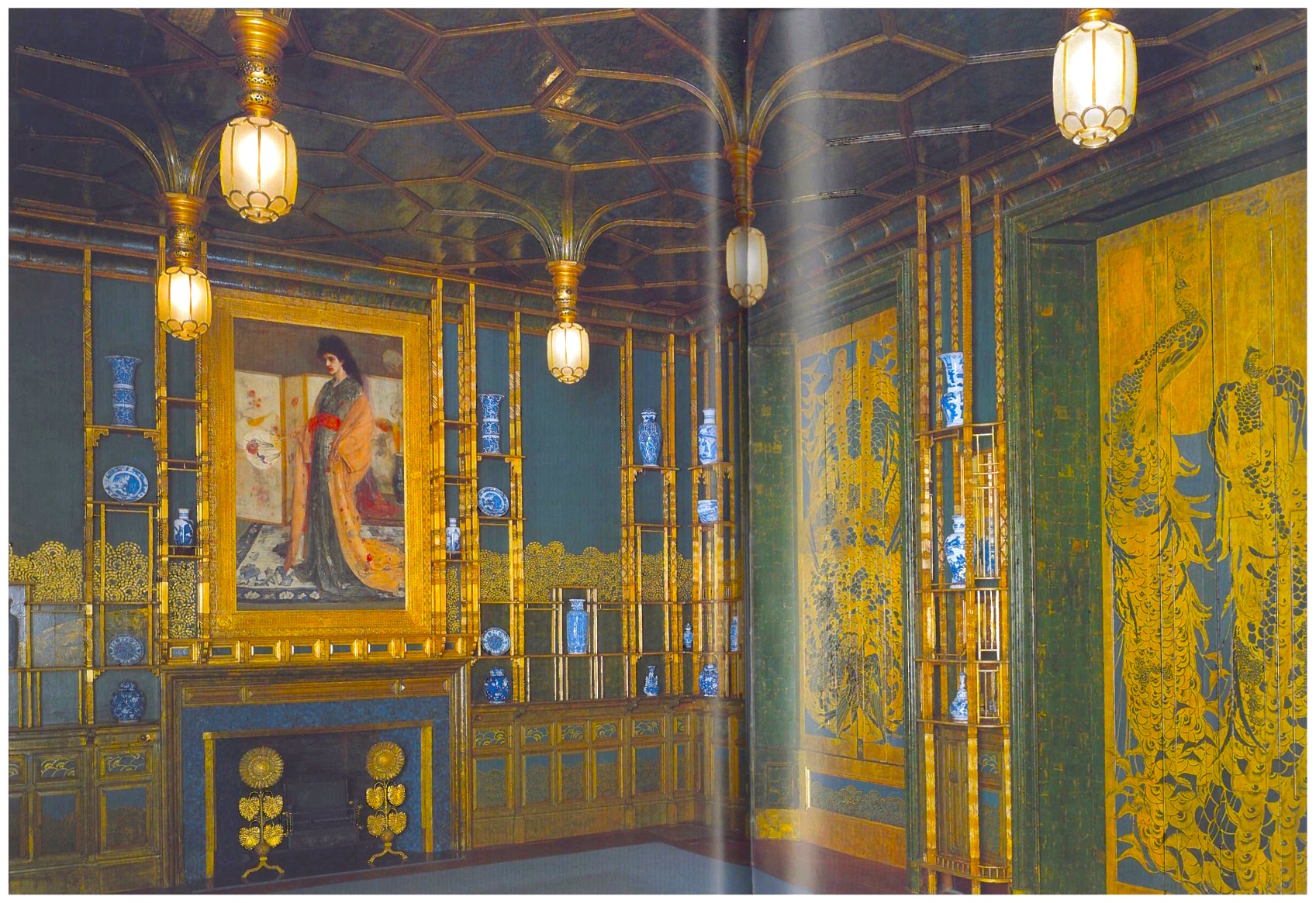 "A notable nineteenth century interior space in an American Museum, ""Harmony in Blue and Gold: The Peacock Room,"" 1876-77 by James McNeill Whistler, also uses peacock feathers as a recurring theme. Permanently on display at the Freer Gallery of Art, Smithsonian Institution, Washington, DC, Whistler's room uses a striking combination of coppery gold, blues and greens to, ""vividly recall the iridescence of peacock feathers."" ( The Peacock Room, A Cultural Biography  by Linda Merrill.)"