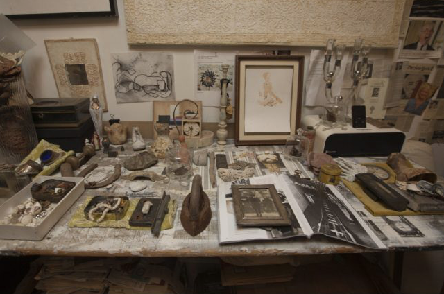 Casey begins her day by working in her atmospheric garden studio, which is filled with vintage ephemera and found objects that inspire her layered and thoughtful approach to design.