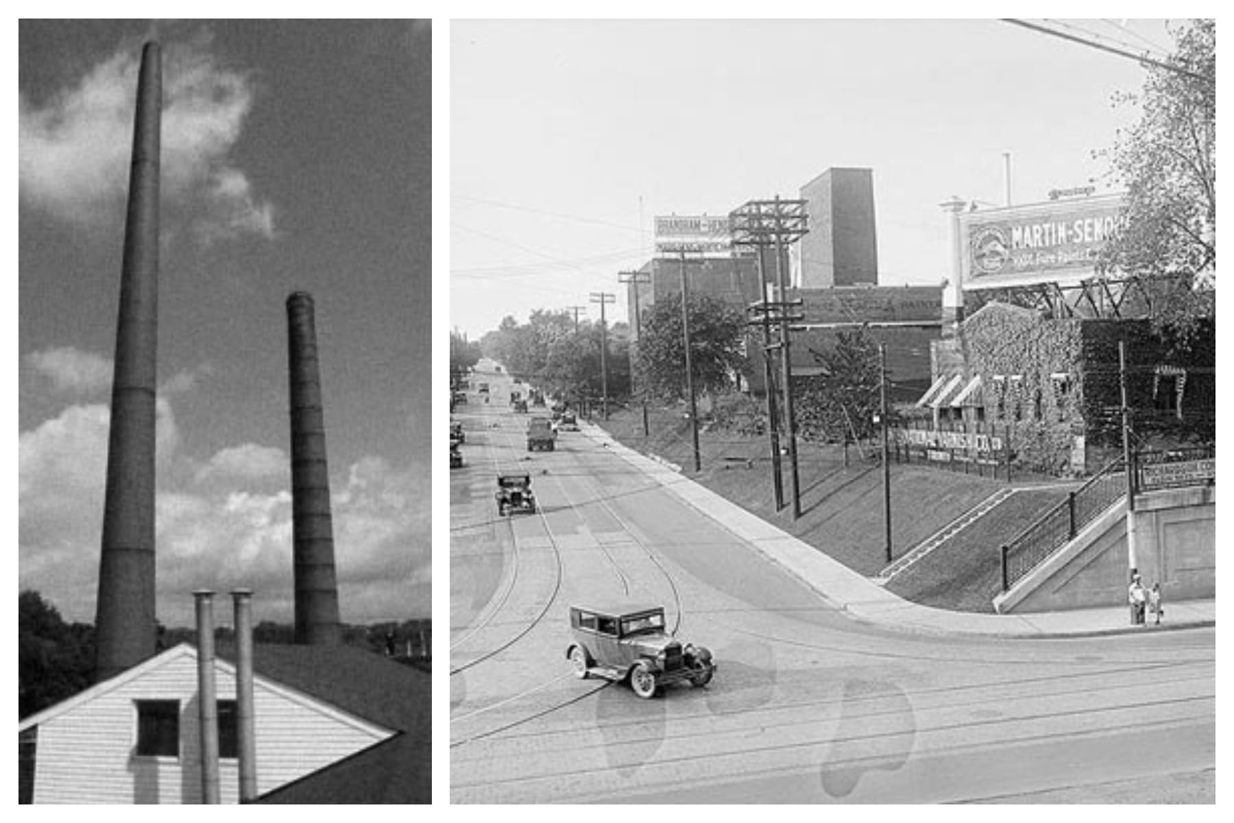 Old industrial chimney stacks (left) and view of Carlaw and Gerrard looking north,in the 1900's (right).
