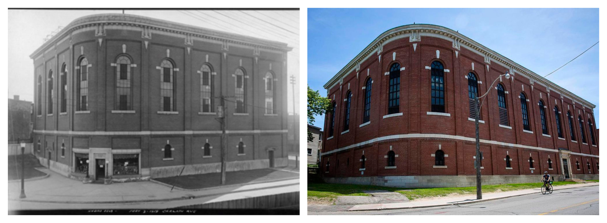 Carlaw Hydro Building 1919 (left) and today (right.)
