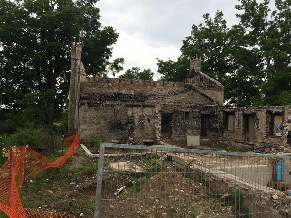 The burnt out shell of the farmhouse.