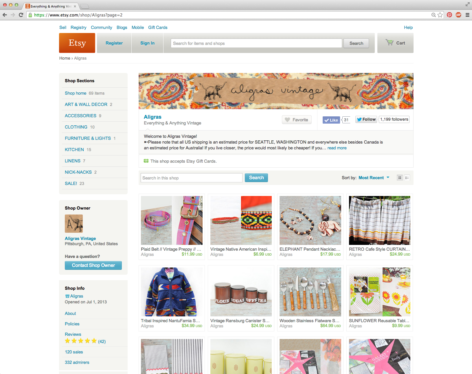 screenshot of Etsy page