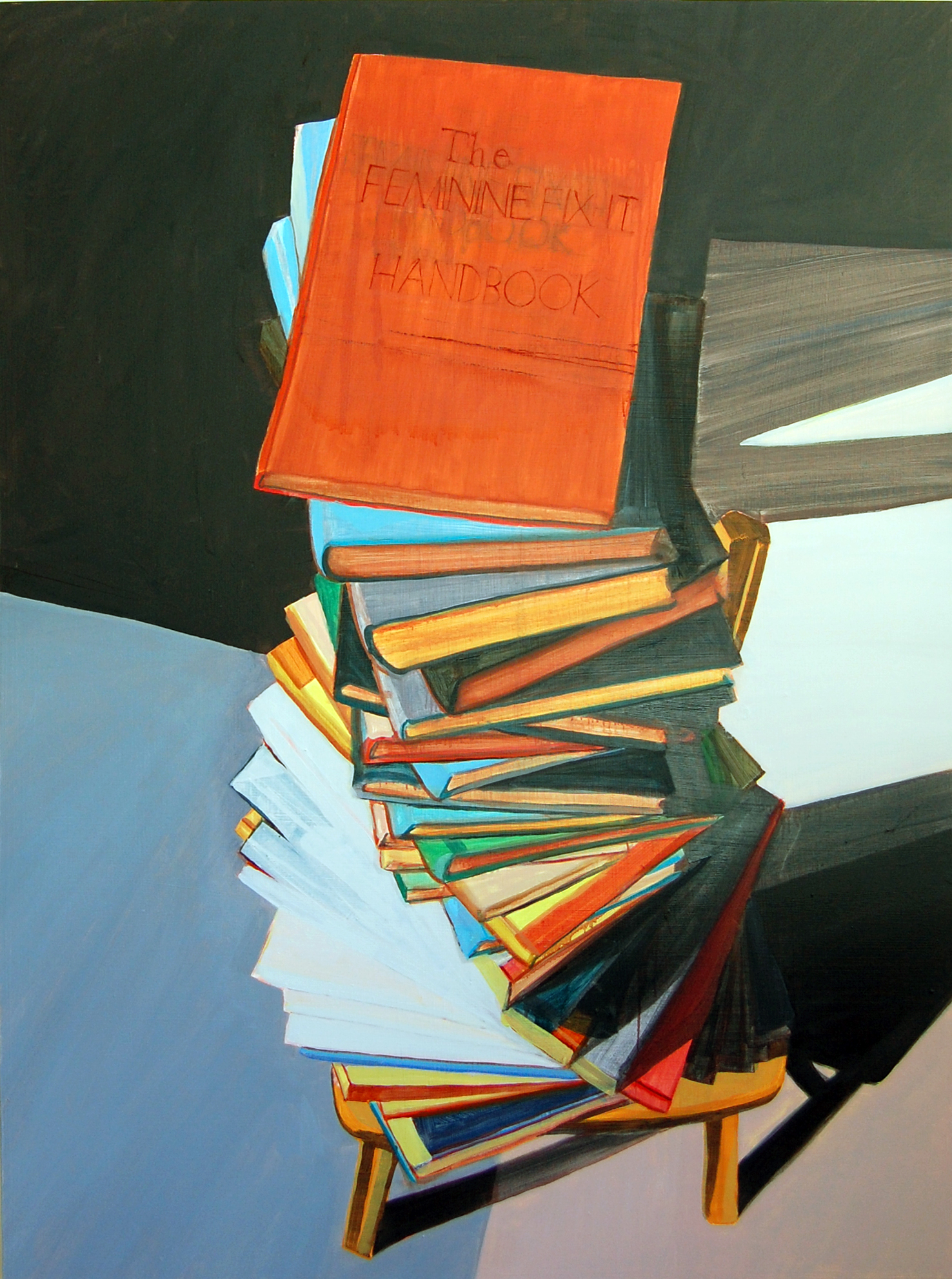 """""""This is Not That Book"""",oil on panel,40x30, $2200"""