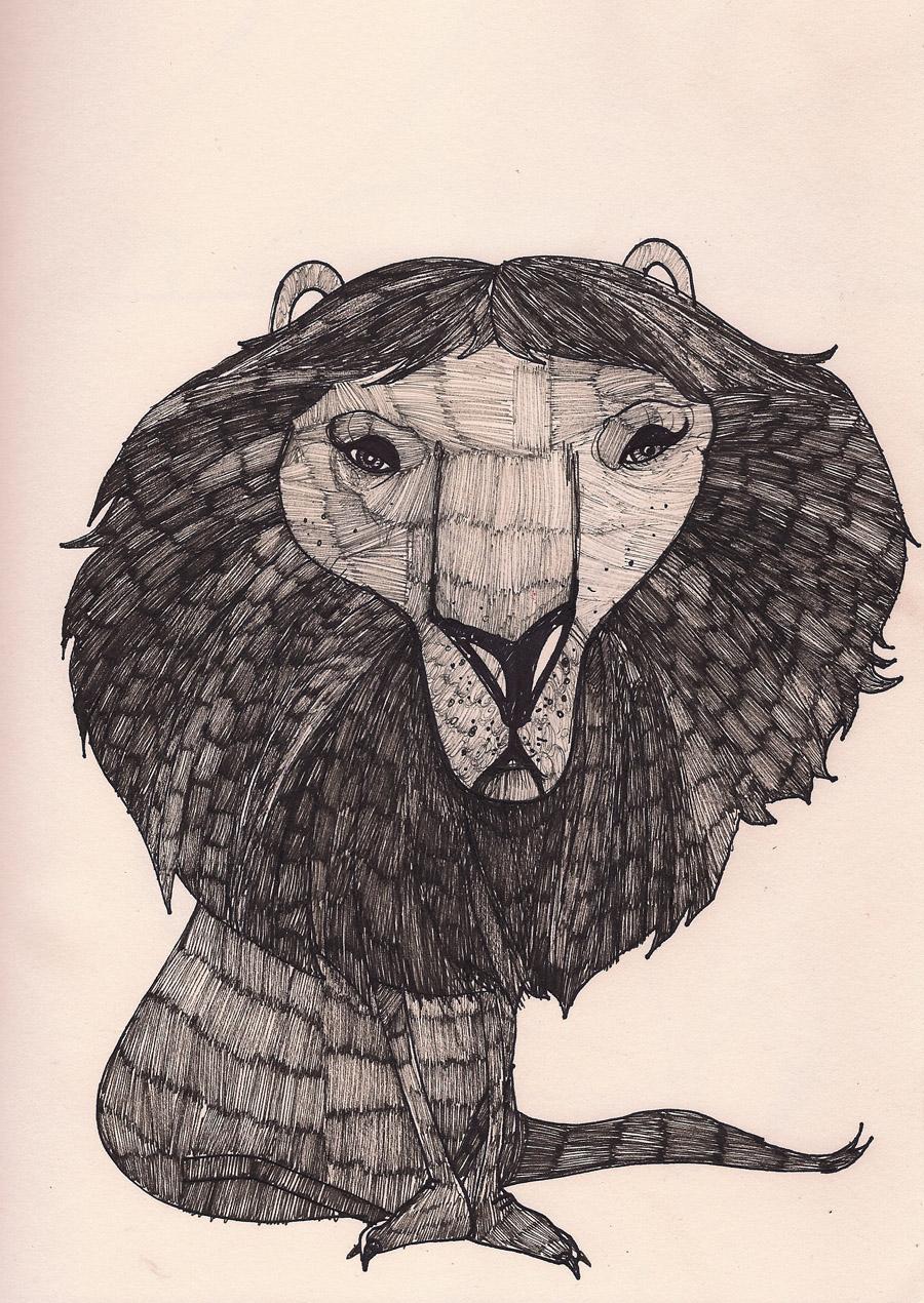 """""""Black Lion 25"""", Pen and Ink, 8x11, $650 (Framed)"""