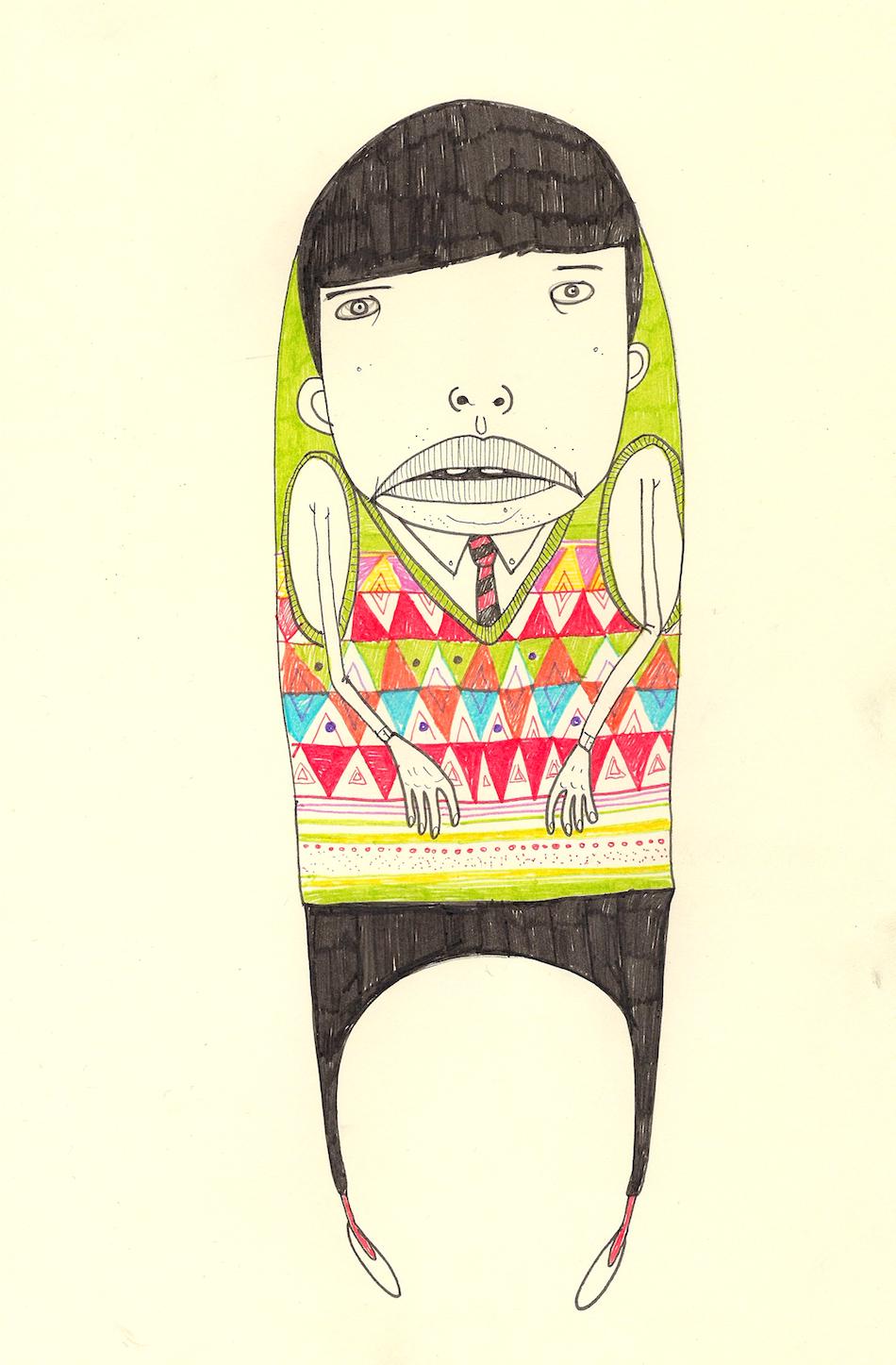 """Jack Henry and His Colorful Knitted Vest"",Felt Tip Pens,8x11, $650 (framed)"