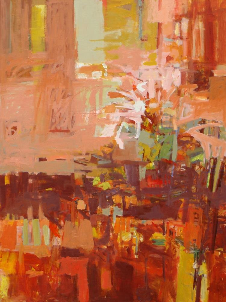 """""""Fruit and Flowers"""", oil on linen, oil on linen,48 x 36, $6,100"""