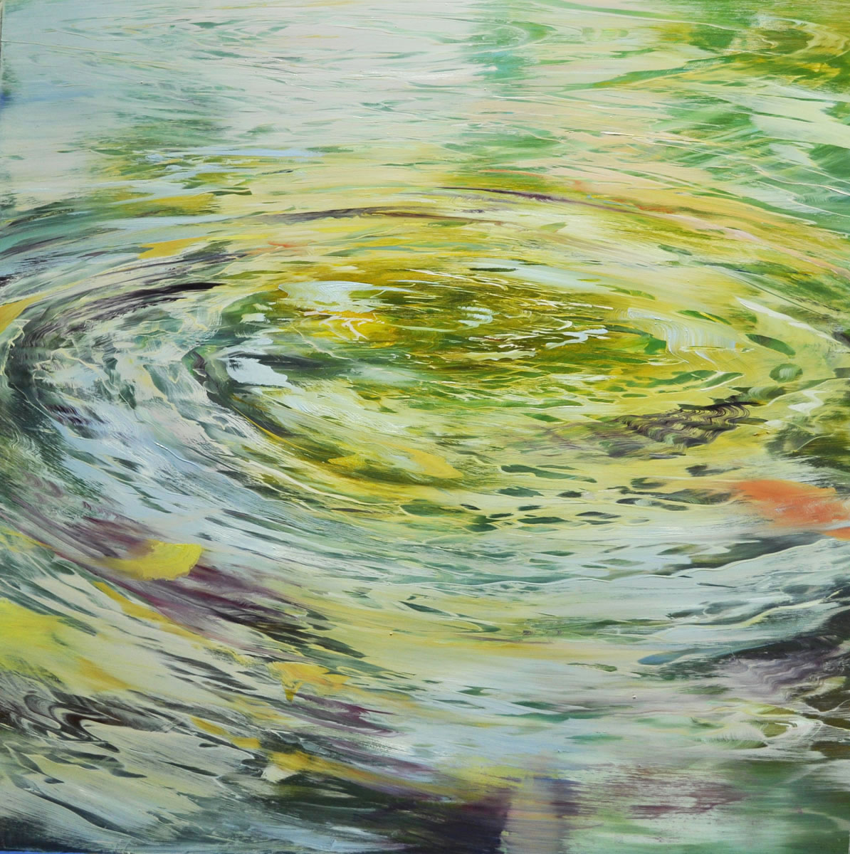 """Water Circles, Vibrations in Color"", oil on anodized aluminum, 36x36"