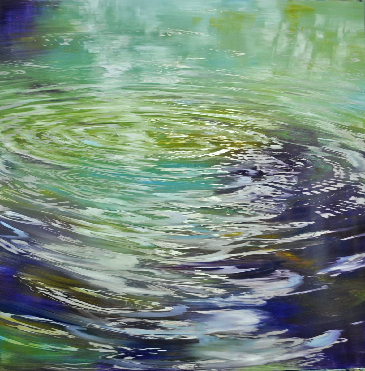 """Water Circles, Concentric Rhythms"", oil on anodized aluminum, 48x48"