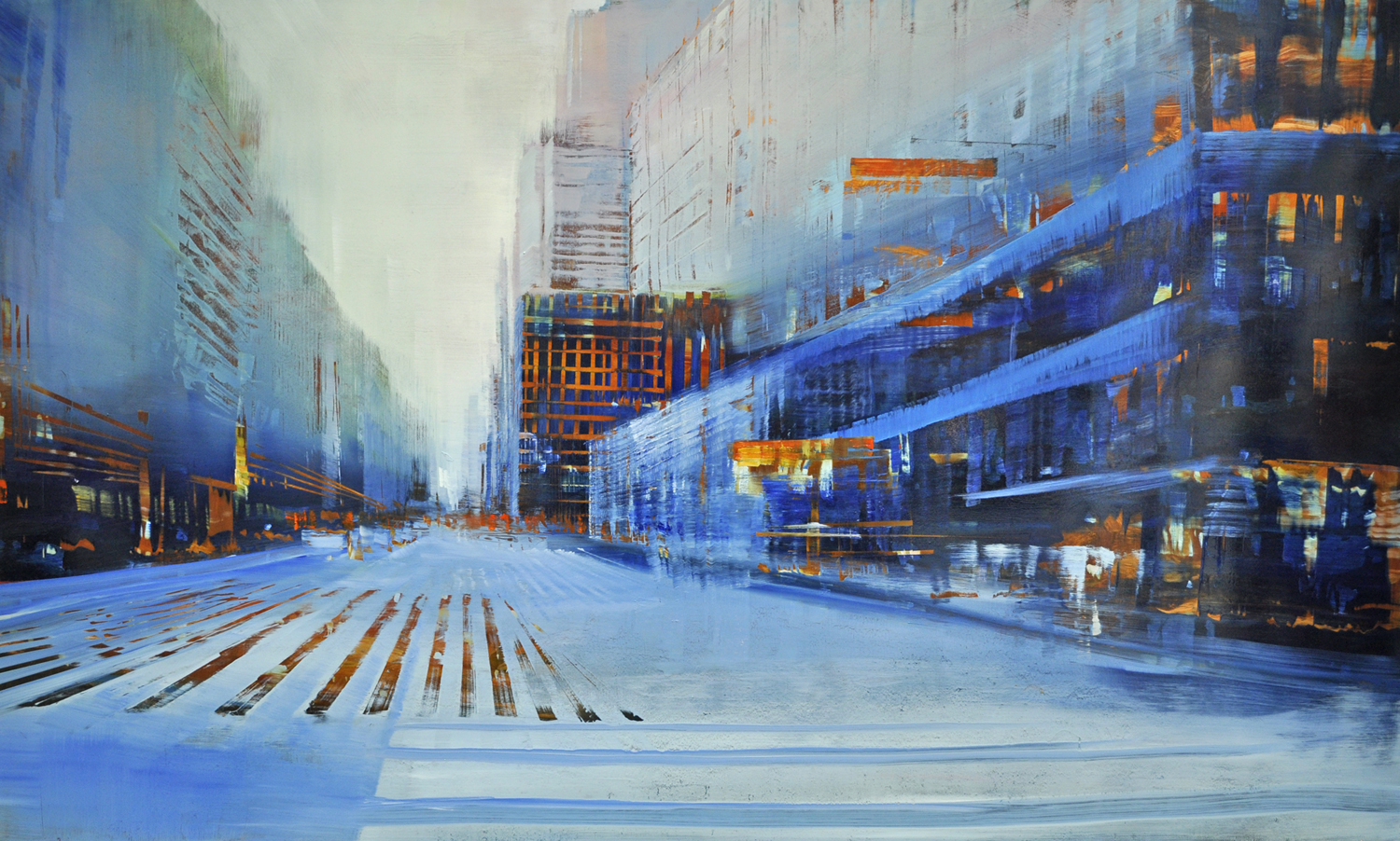 """City, Midtown Crossing"", oil on copper, 36x60"