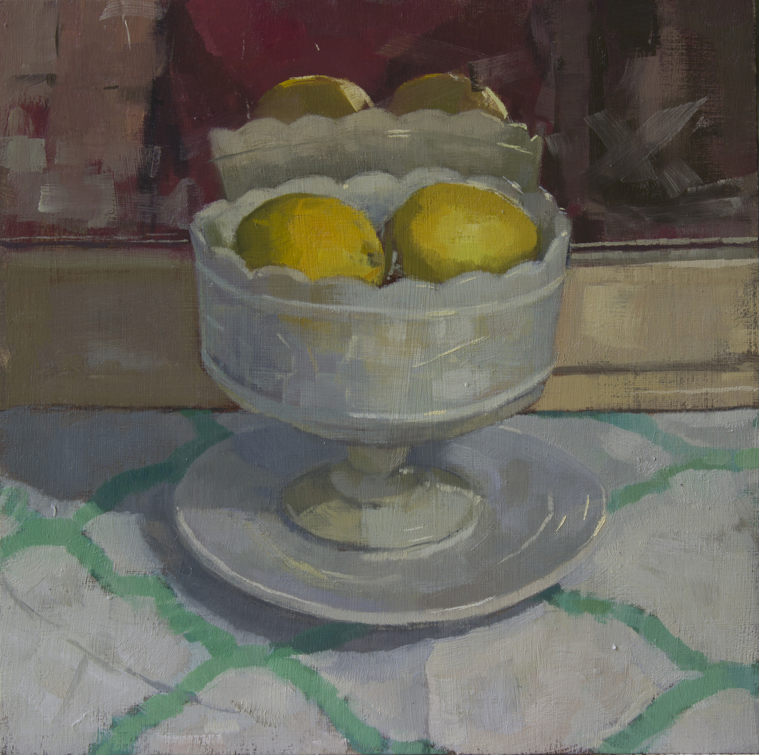 """On White Plates"", oil on panel, 10x10, $500"