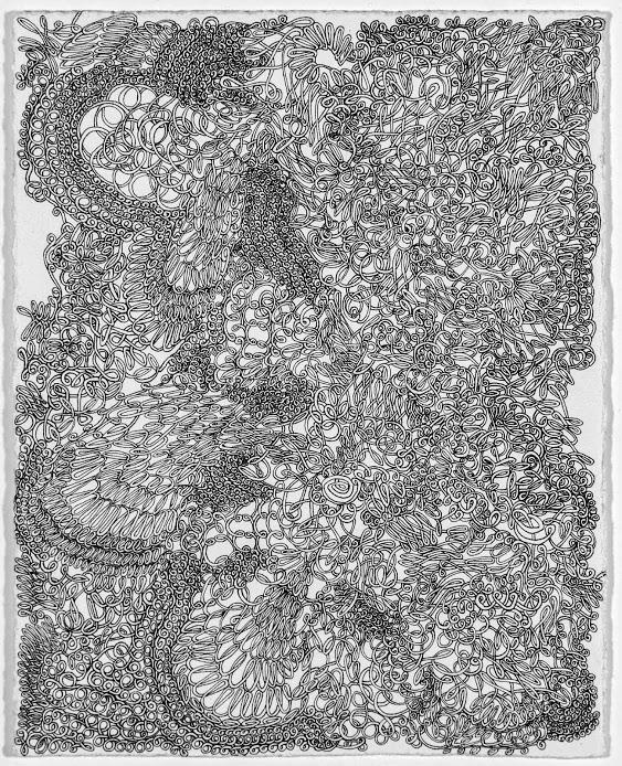 "Eliza Stamps, ""Knot Sincere""ink on paper, 6x4.75 image size, 8.25x9.5 framed, $500"