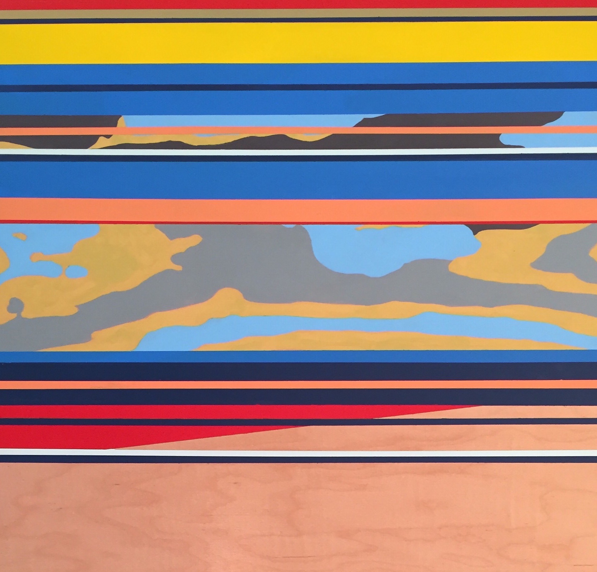 """Under A Madding Sky"",acrylic on birch panel,26.5 x 20, $750"