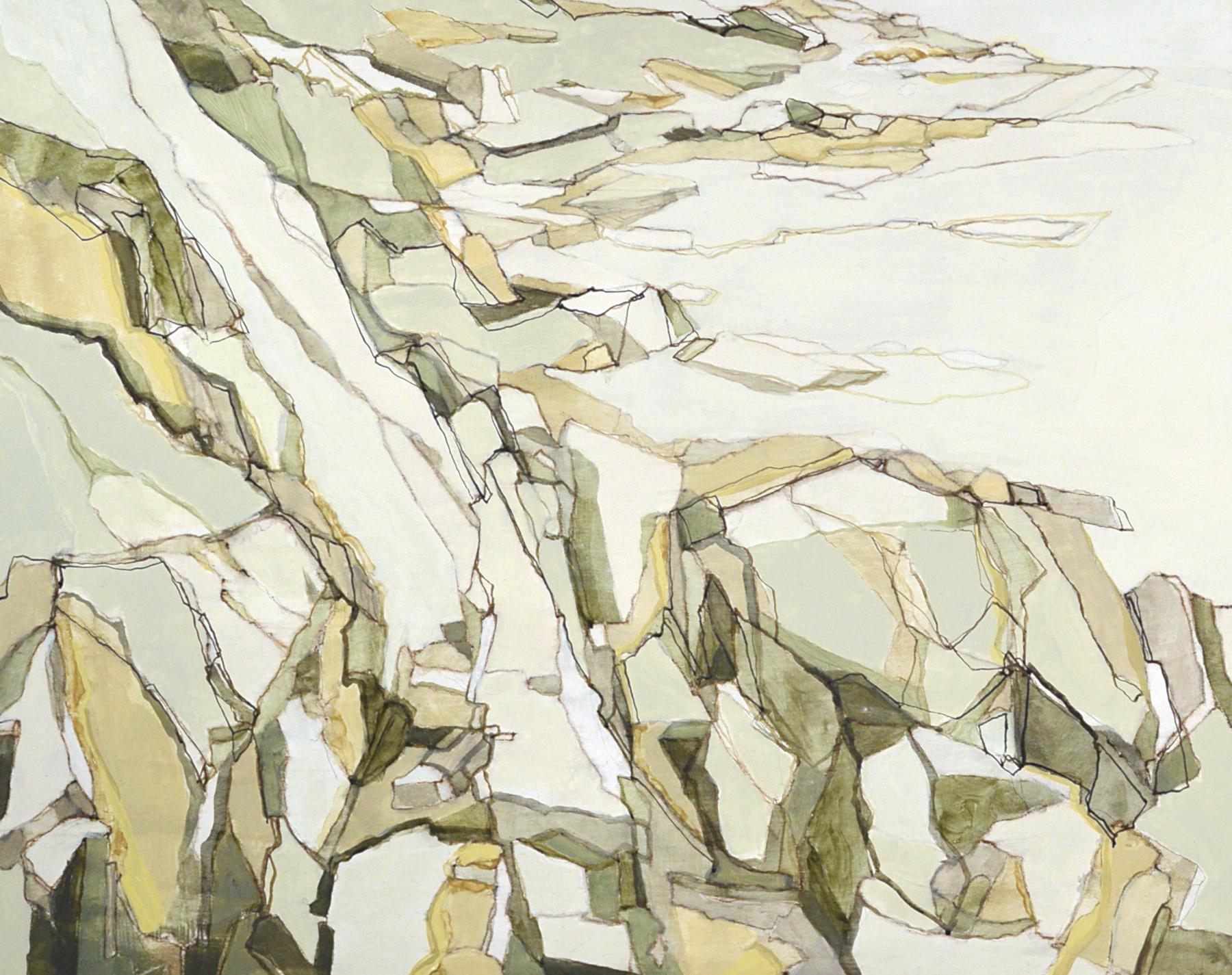 """Tumble Down Rock"", mixed media on panel, 16x20"