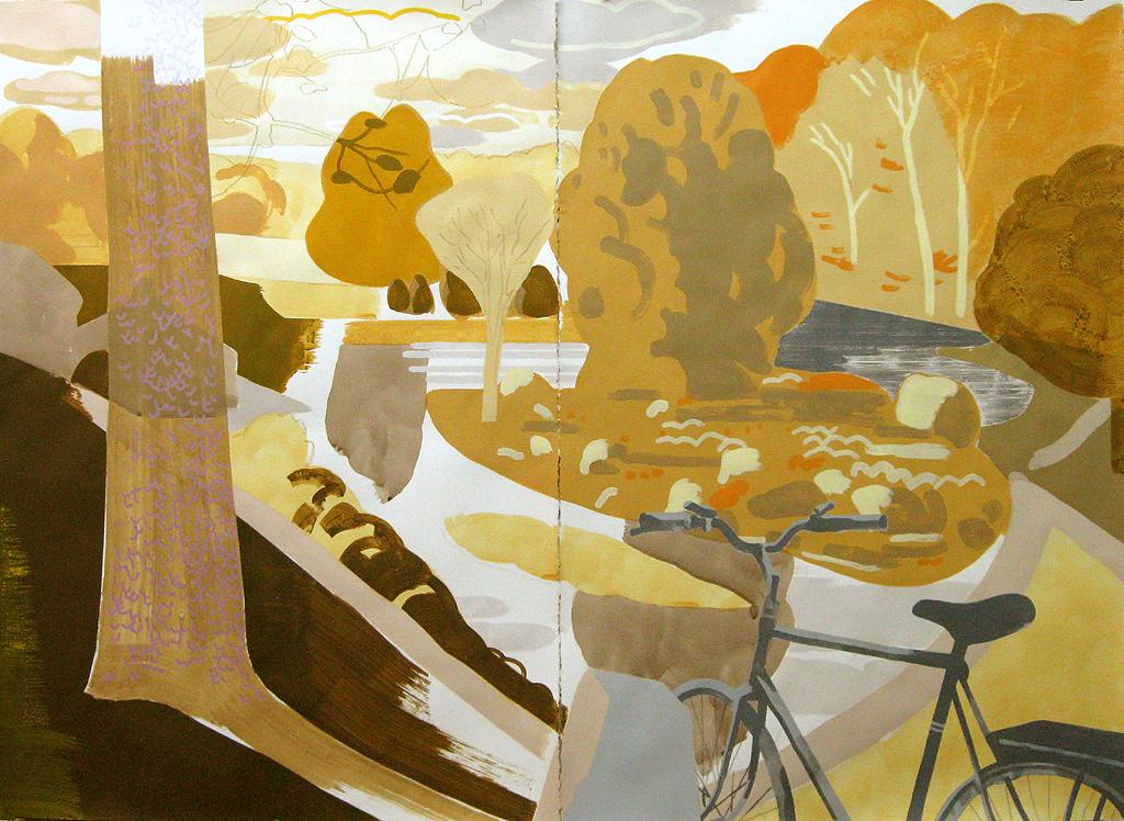 "Justin Kim,"" Paradise Pond, Northampton MA"", mixed media on paper, 44 x 60"""