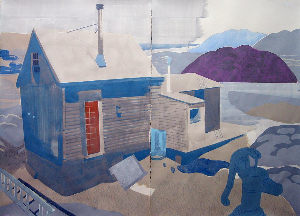 "Justin Kim, ""Dune Shack, Provincetown MA"", mixed media on paper, 44 x 60"""