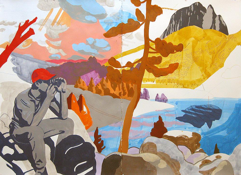 """Justin Kim,"""" Big Pine Lake, Sierra Nevada CA"""", mixed media on paper, 44 x 60"""""""