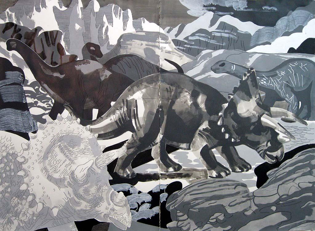 "Justin Kim,""Cretacious II"", mixed media on paper,44x60, $3400"