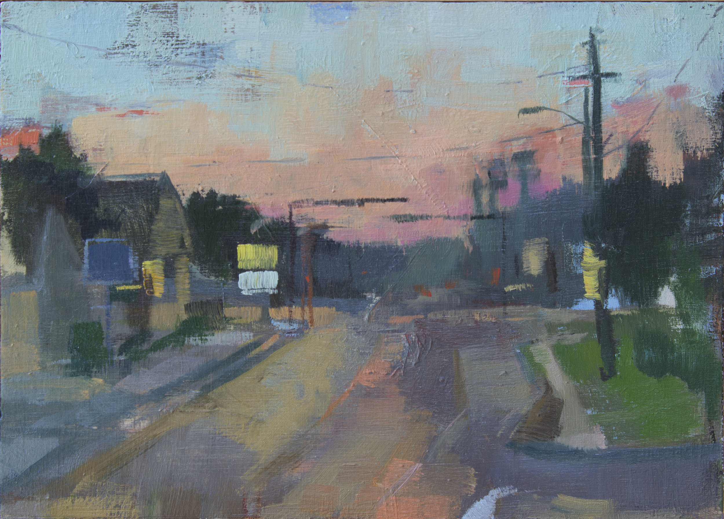 """Bouncing Half-Light"", oil on panel, 5x7"