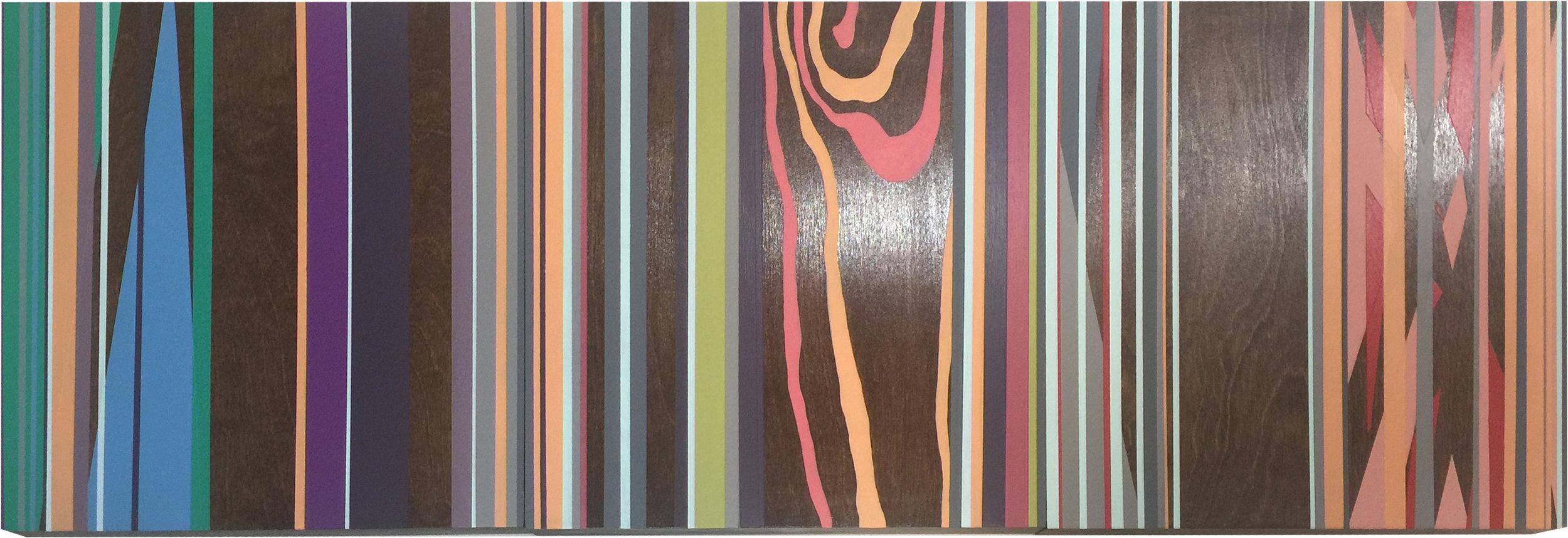 """Fluid Resonance 2"",acrylic on walnut,12x36"