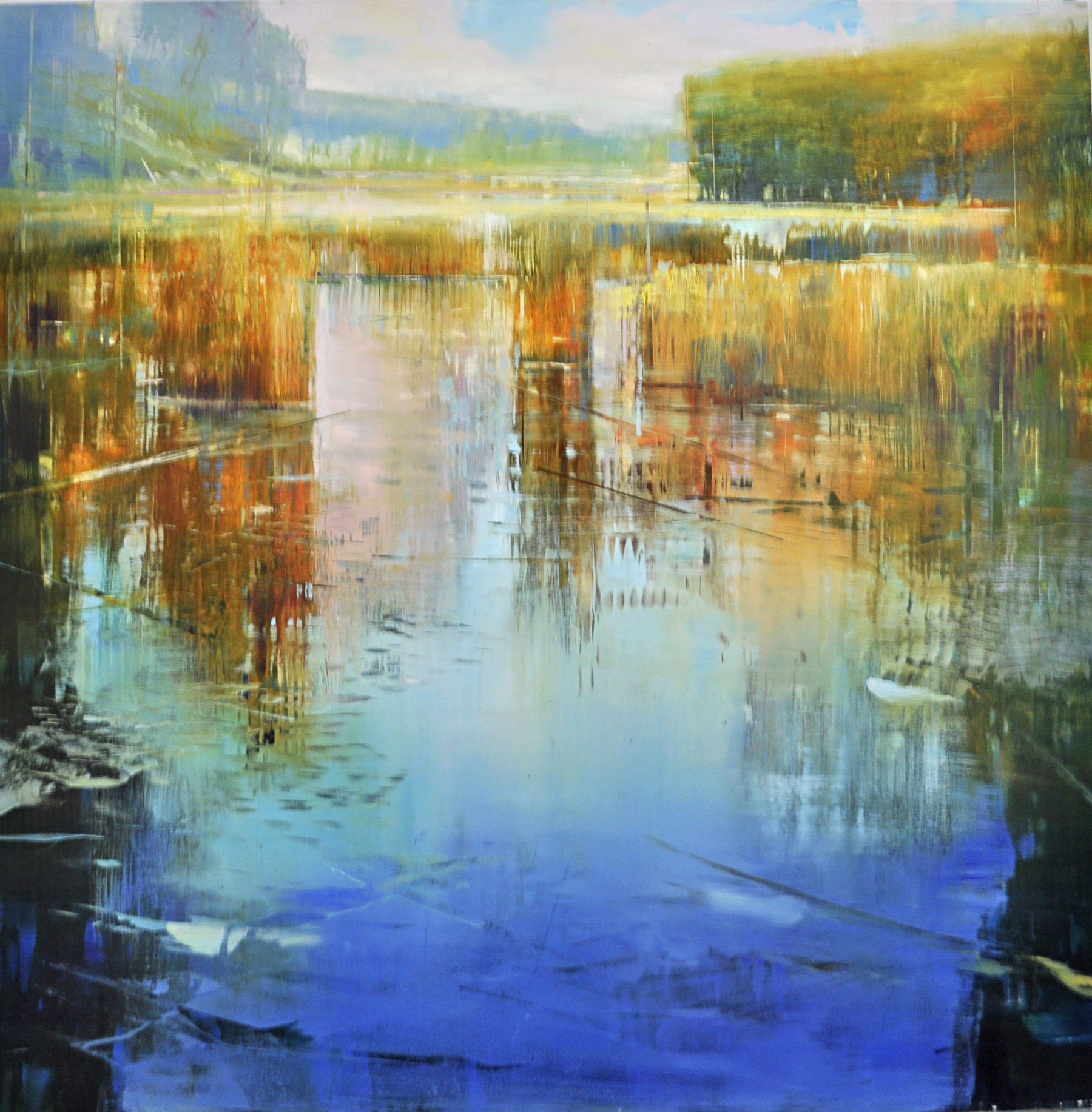 """Nature preserve"", oil on enameled laminated aluminum, 36x36, $6,500"