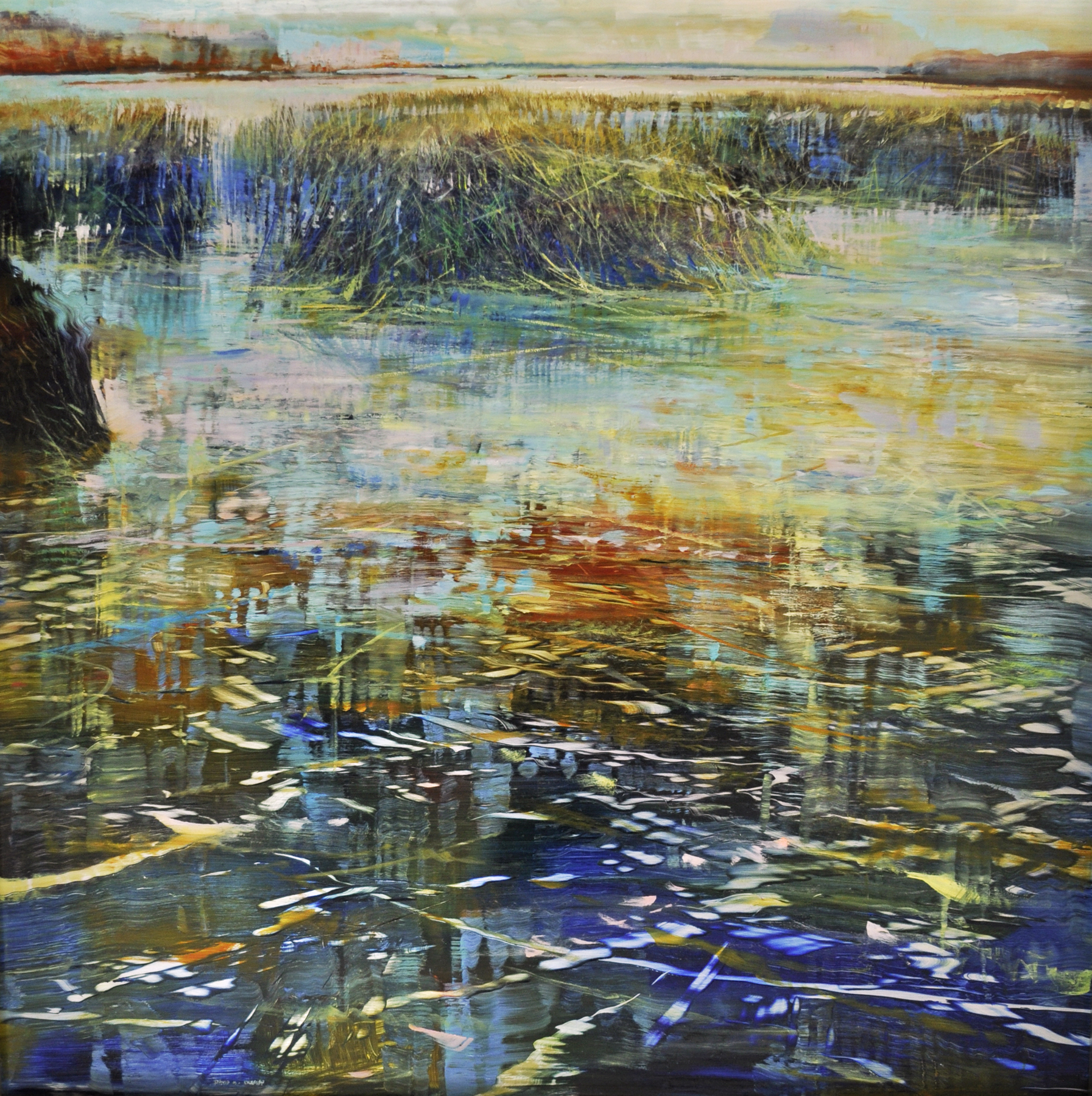 Shoreline-Tods point_tidewater_oil on enameled laminated aluminum_24x24_3500.JPG