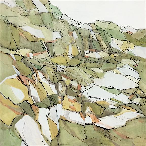 "Darthea Cross, "" Glacier's Trace"", acrylic on panel, 20x20"