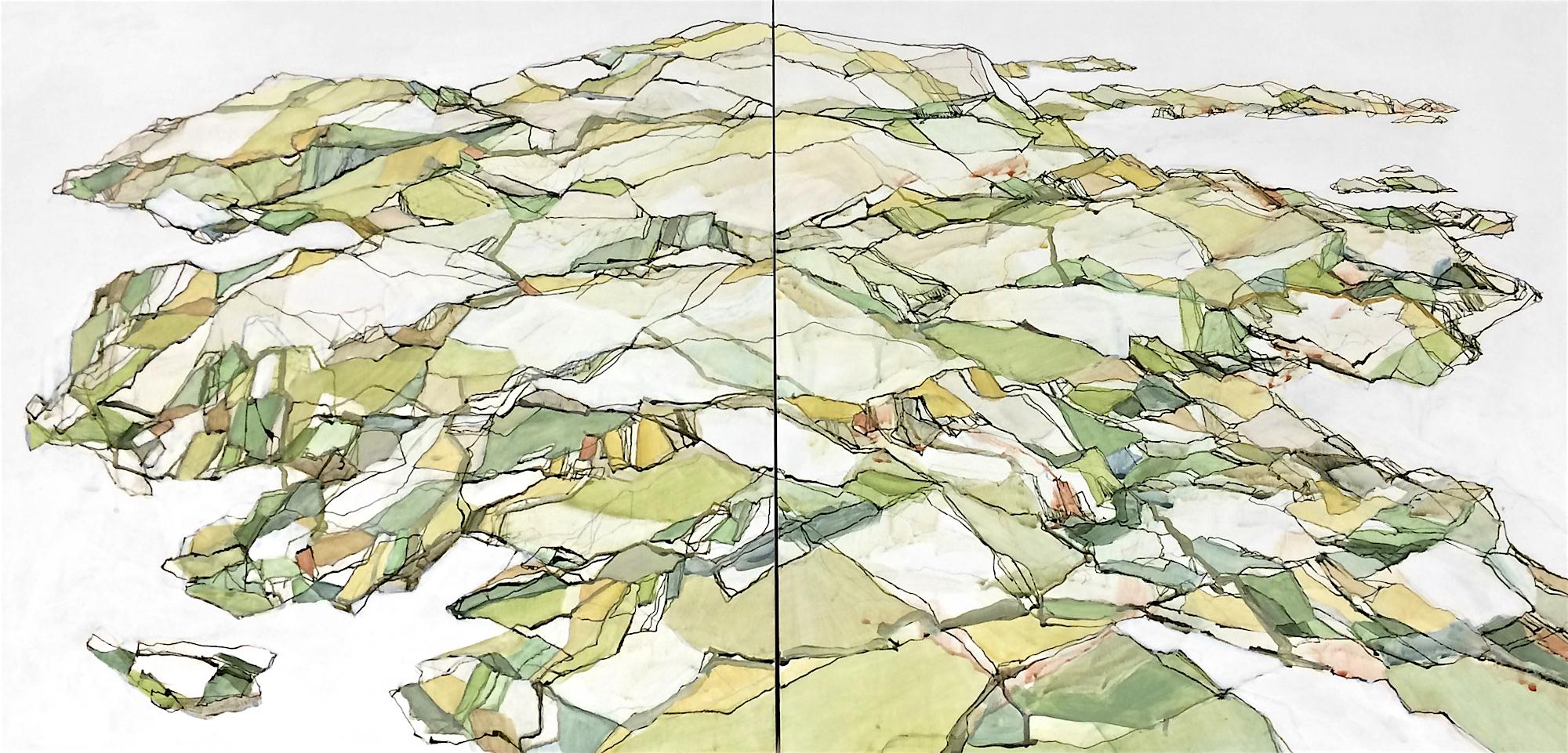 "Darthea Cross, ""Island Lines"", acrylic on panel, 20x40 diptych"
