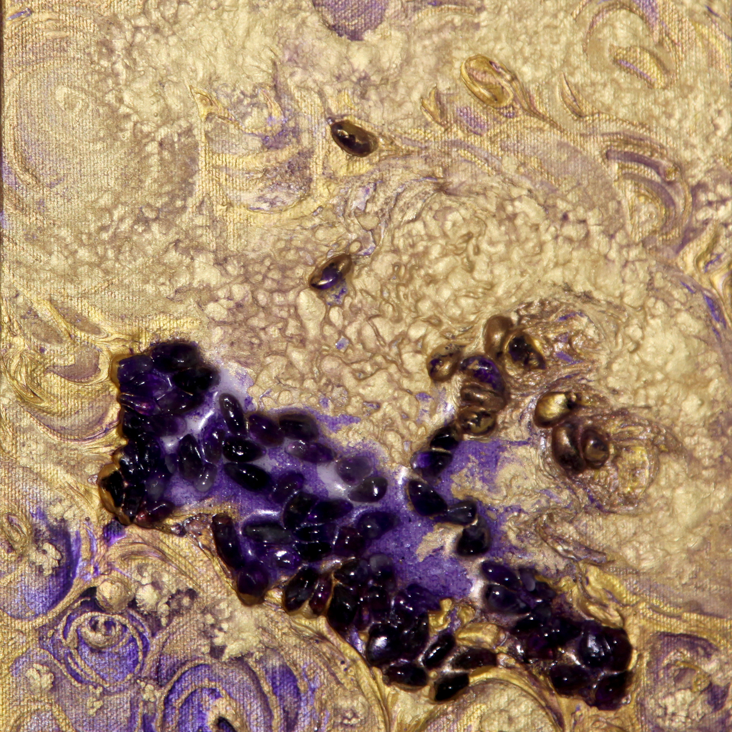 "Laura McClanahan, ""Vital Protection"", acrylic resin and amethyst crystals on canvas, 8x8, $900"