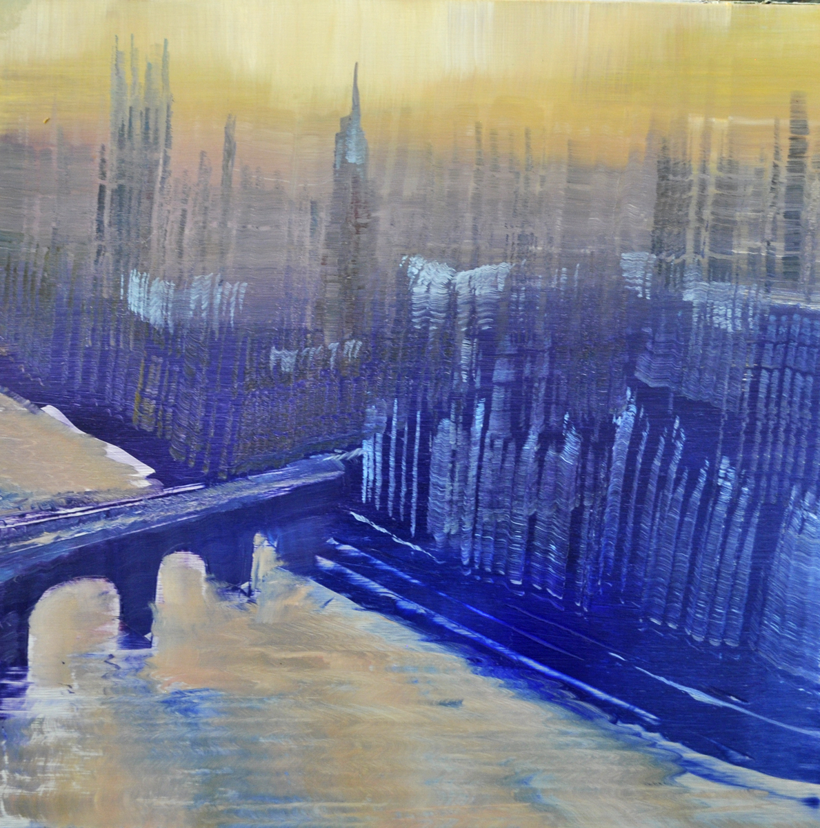 aerial, london overview, oil on enameled laminated aluminum12x12.jpg