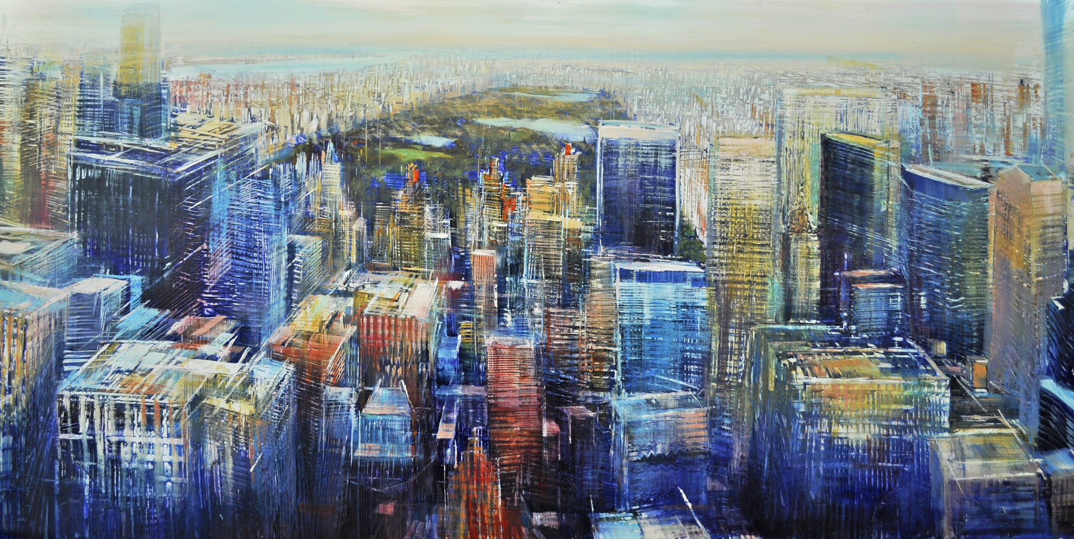 aerial, Manhatttan toward Central Park, oil on enameled laminated aluminum,24x48.jpg