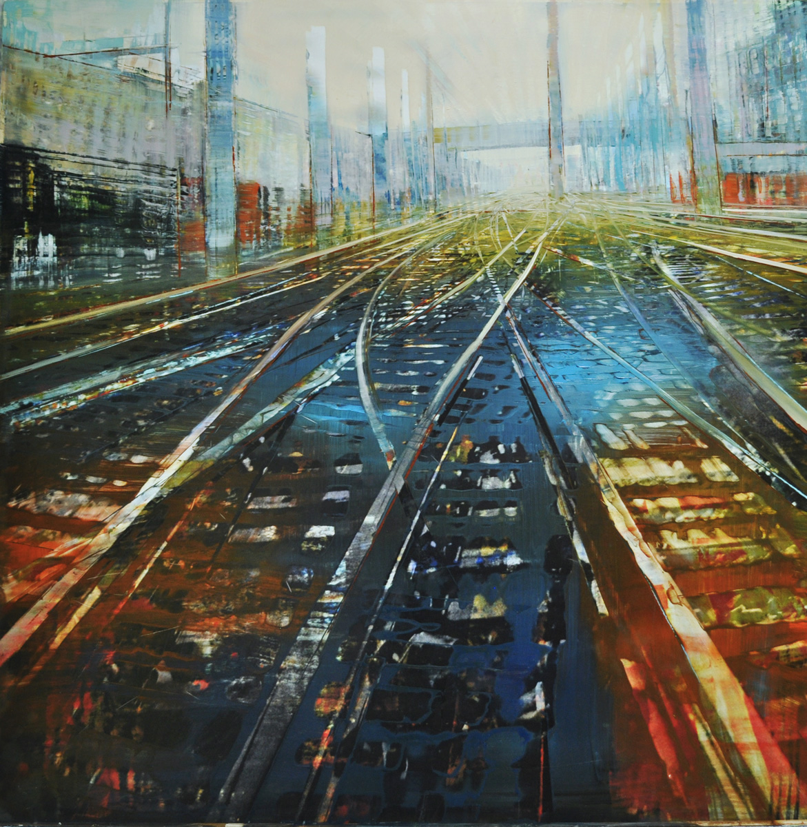 Dunlop_New York Rails_oil on mixed media mount on aluminum_36x36_6500.jpg