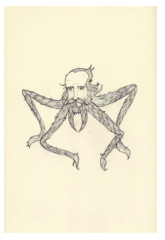 """Travelling By Beard 2"", Ink on Paper, 16.75x20, $450"