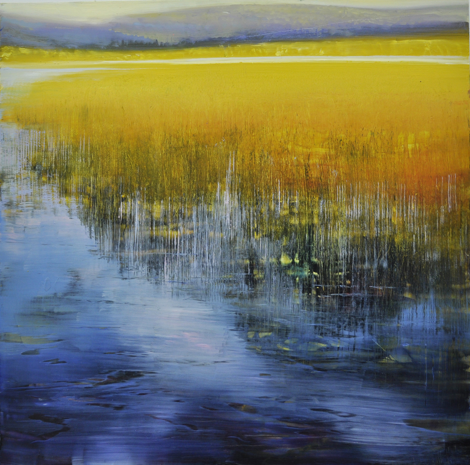 """Lake, Marsh and Mountain"", oil on enameled laminated aluminum, 24x24, $3,500"