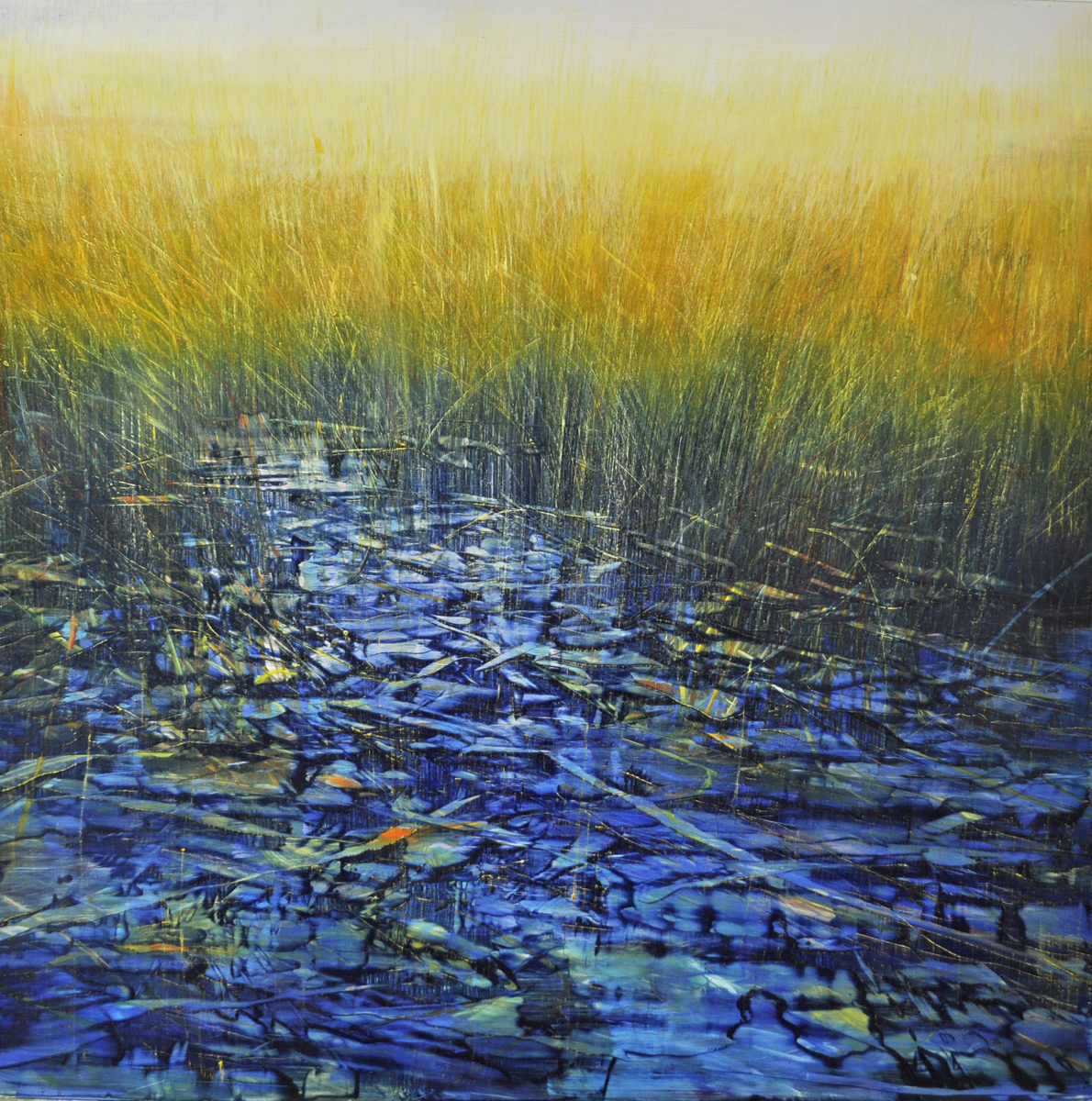 """Shadowed Tidepool"", oil on enameled aluminum, 36x36, $6,500"