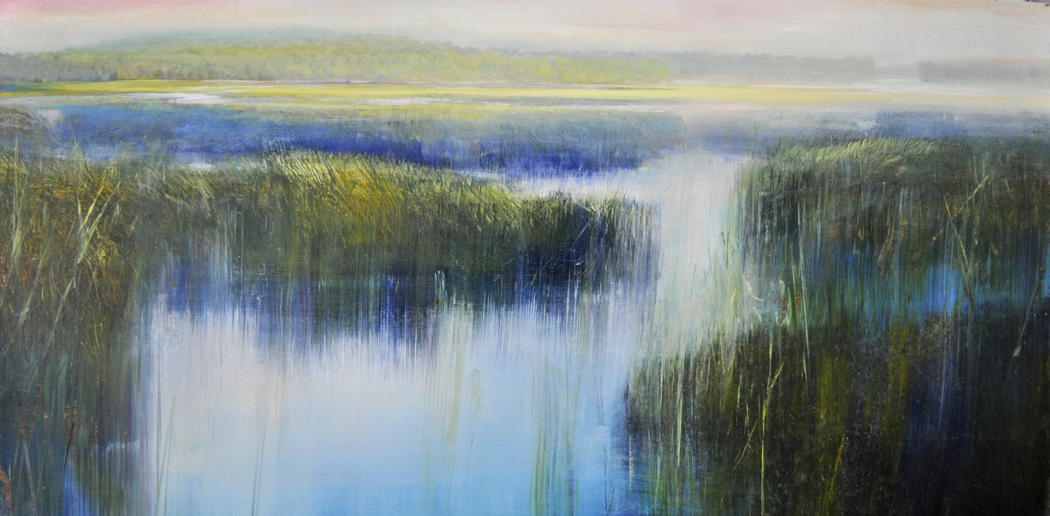 """Tide Water Labyrinth"", oil on enameled aluminum, 24x48, $6,500"