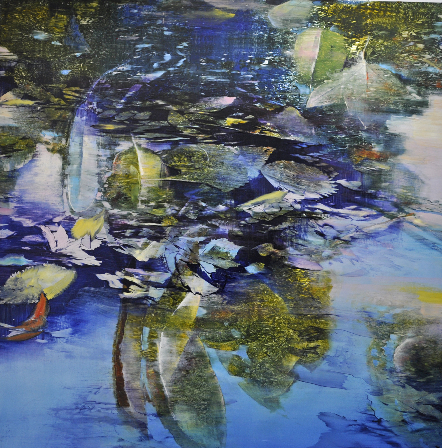 """Water Patterns"", oil on enameled aluminum, 48x48, $15,000"