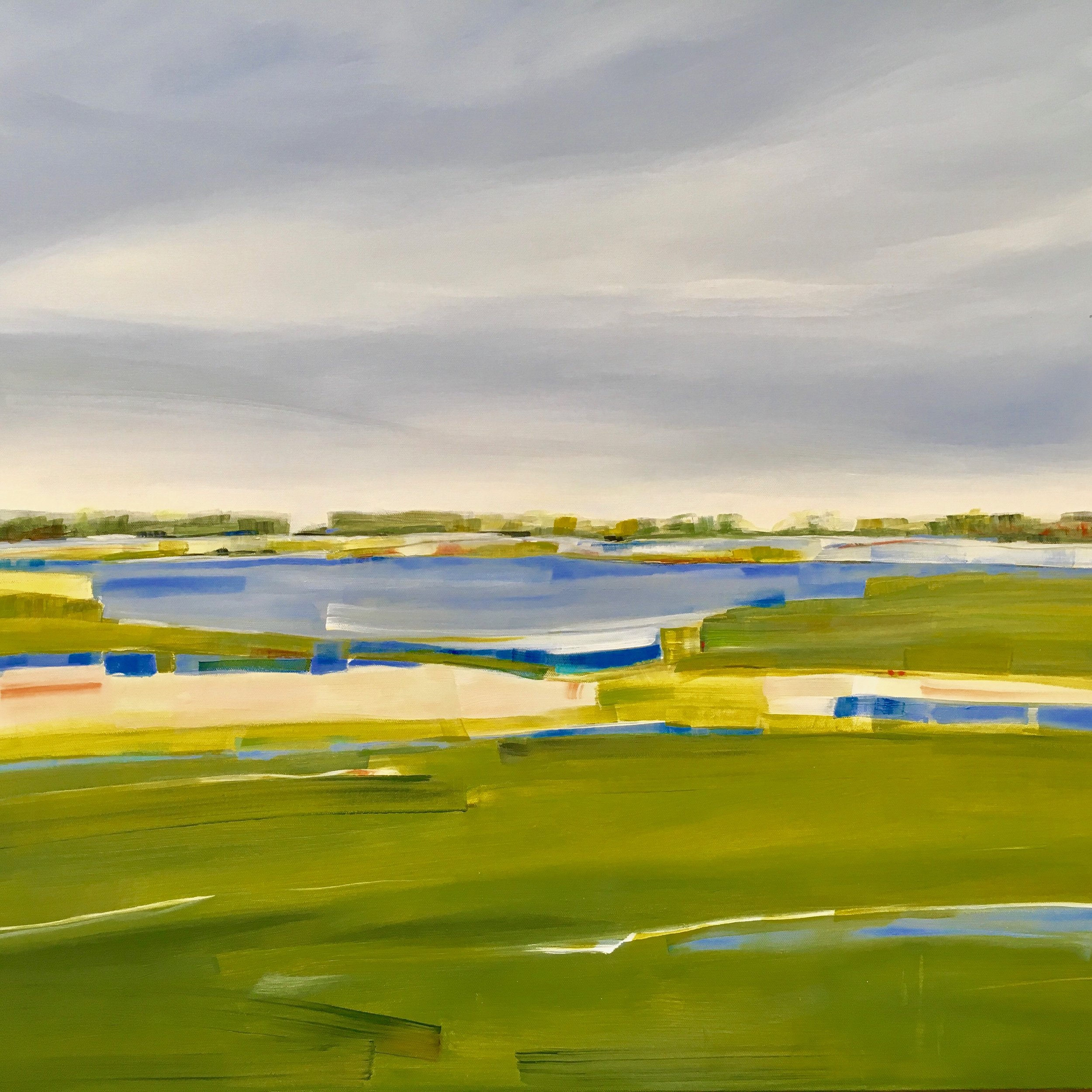 Salt Marsh Mist, Acrylic on Canvas, 30 x 30