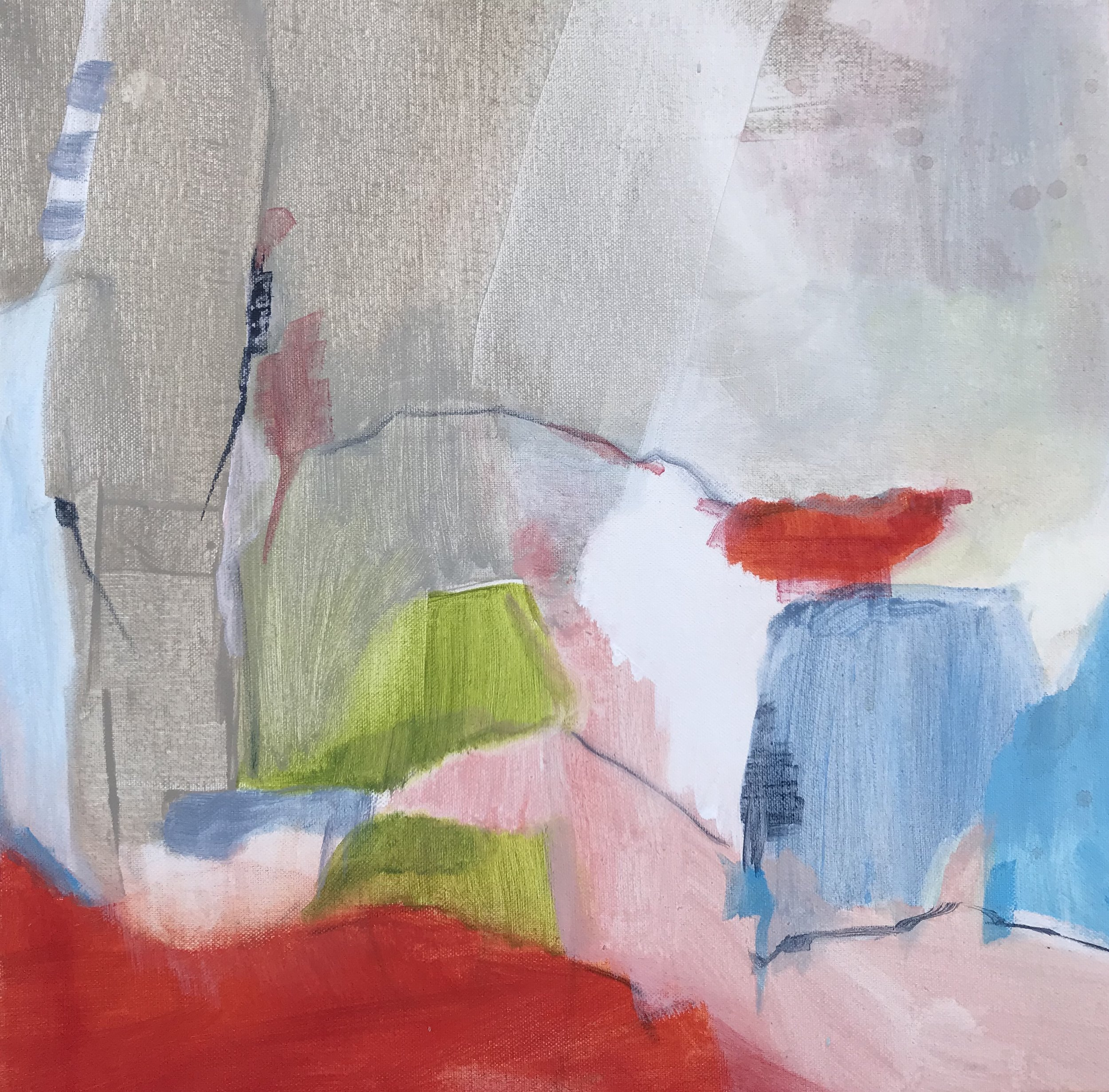 Tethered, Acrylic on Canvas, 16 x 16