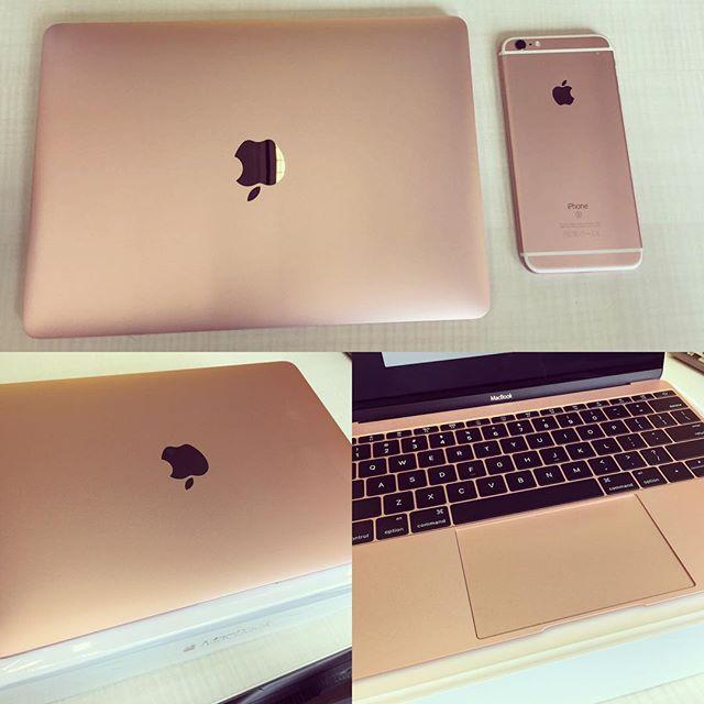 In love with my new work gadgets! #pinkpower #prettyinpink #macbook #designerlife #rosegold #apple #pinknation