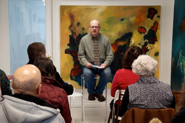 Stevan reads at The Artists Edge, a monthly salon in Sandy, Oregon, hosted by Lori Ryland at her gallery/studio.
