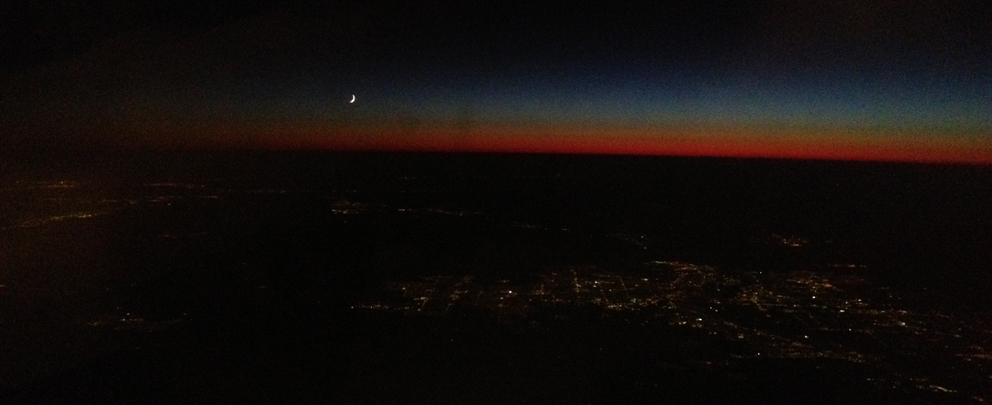 Los Angeles - Night time with curvature of the earth
