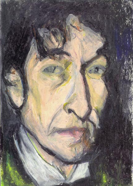 "One of my oil pastel drawings of Bob Dylan, called ""Million Miles,"" which I drew in one setting after hearing  TOOM  for the first time, the day it was released. ""Million Miles"" was played on the radio earlier that day and I was at work. It killed me. Still does. Especially all the stuff on  Tell Tale Signs. Click on the pic for the  Art page  of this site. Beneath the ""Jazz Portraits"" is the Dylan gallery."
