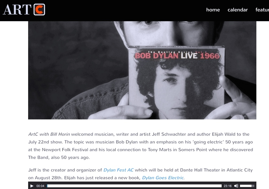 "Click on the image above to listen to the WOND interview about ""Dylan Fest AC,"" featuring Jeff Schwachter, Elijah Wald and Peter Stone Brown, thanks to ArtC's Bill Horin and the ""Bob Burns Show."""